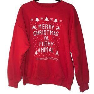 Merry Christmas Ya Filthy Animal Sweatshirt Large